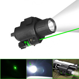lanternas led verde Desconto HQ CREE LED Tactical Flashlight Green Laser Sight Strobe Light For Rifle Pistol Glo ck G17 G19 20mm Rail Mount Shotgun 200 Lumens FREE