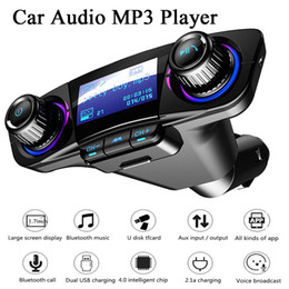 2020 transmisor de potencia inalámbrico Transmisor FM inalámbrico para coche Bluetooth manos libres para automóvil kit Aux Modulador MP3 TF del jugador de doble USB 2.1A Power ON OFF audio de la pantalla transmisor de potencia inalámbrico baratos
