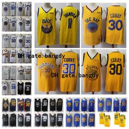 Curry giallo blu online-Mens 2020 Stephen Curry 30 Klay Thompson 11 Golden State