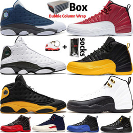 Sapatos de táxi on-line-2020 Com Box Jumpman 12 12s sapatos de alta OG WNTR Taxi Gym Mens Red Basketball 13 13s Flint Chicago Mulheres Sports Sneaker Trainers Tamanho 36-47