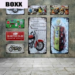 rota 66 letreiros de lata Desconto Retro Recados Motor Oil Motos Car License Plate US Route Signs 66 Motel Tin Vintage Gasoline Poster de Metal Arte