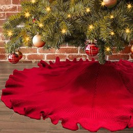 Grande gonna rossa online-Big Red Christmas Tree Skirt Ambienti in festa decorazioni Carpet Fold Curvo Albero di Natale a maglia Gonna Albero inferiore Grembiule Carpet