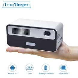 Projecteurs de poche pico en Ligne-Touyinger HDP300 250 ANSI Mini LED Portable Projecteur DLP WiFi batterie HD Android 1080P Bluetooth Pocket Pico poche Beamer