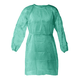 Aventais unisex on-line-Non-woven Protection Gown Unisex Disposable Protective Isolation Clothing 3 Colors Dustproof Gown Kitchen Apron CCA12336 120pcs