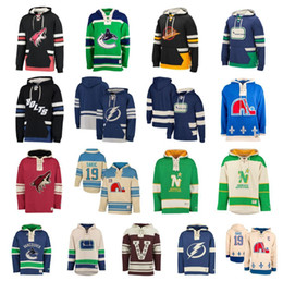 Stelle st online-Hockey personalizzato Hoodie Pullover Tampa Bay Lightning Minnesota Stelle del Nord Quebec Nordiques Arizona Coyotes Vancouver Canucks St. Louis Blues