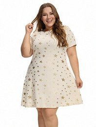 Star dress stampato più dimensioni online-OEUVRE Womens Stella Tee Shirt tunica Stretch Dress Plus Size Stella metallica Stampa Jersey bhTd #