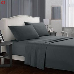 Regali comodi del re online-4 pezzi Regina King Size Bedding Sheets Set comodi molli lamiera piana Coprimaterasso federa Set Back to School Doppia completa Regina King Size