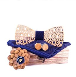 Wooden Bow Tie New Wood Bow Print Chinese Style Window Flower Suit Banquet
