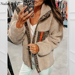 Nadafair Leopard Patchwork Casual Teddy Coat Women Faux Fur Coat 2019 Autumn Winter Fur Jacket