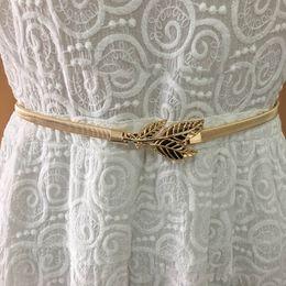 Vintage Metal Elastic Belts For Women Golden Silver Flower Leaf Dress Decor Waist Belt Girls Skinny Waist Chain Female Belt