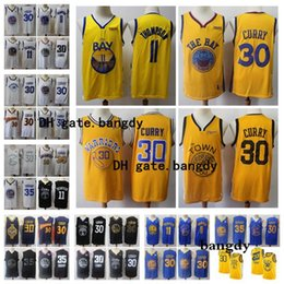 Stephen curry bianco blu online-Mens 2020 Stephen Curry 30 Klay Thompson 11 Golden State