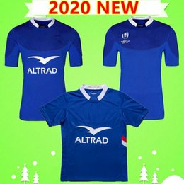T shirts parole online-S3XL NUOVO 2020 FRANCIA PIÙ RUGBY JERSYYS TEAM Nazionale Home Camicia Blu League 19 20 T-shirt polo Men S Coppa di parole Top Quality 2019 2020