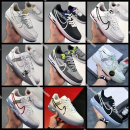 2020 mse sapatos 2020 Nike air force 1 React White D MS X Men Women airforce 1 1s Shoes White Red AF1 Casual Shoes Size 36-45 mse sapatos barato