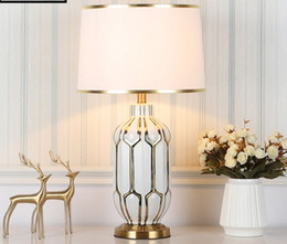 Nordic Ceramic LED Table Lamps Dimming Blue Hand painted Desk Lamp Home Decor Table Light Living Room Bedroom Hotel Table Lamp MYY