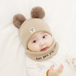 sombreros recién nacidos niño Rebajas Kids Baby Casula Hat Autumn Winter Boys Girls Baby Newborn Knitted Hat Childrens Warm Bib Hat 2020 Fashion Beanie
