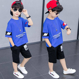 мм футболка  Скидка Boys Clothing Set Children Clothes 2020 New Summer Casual Kids Clothing Sets Letter MM T-Shirt + Pants 2Pcs Boys Suit