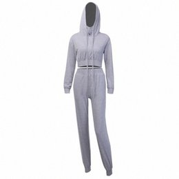 Frauen-baumwoll-jogging-sets stücke online-Frauen Herbst Zweiteiler Lässige Hellgrau Hoodies Croped Top-Bleistift-Hosen-elastische Anzug Jogging Cotton Sweatsuit nkKd #