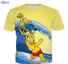 Simpsons camicia t online-Cartoon Anime The Simpsons T shirt Uomo Donna 3D Print Homer Simpson Breve modo del manicotto Coppie Tee Tops S-5XL
