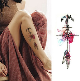 Corpo fiore nero online-Donne Fashion Girl Temporary Tattoo Sticker Black Roses Design Fiore completa Braccio Body Art Grande Grande falso autoadesivo del tatuaggio