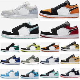 Sapatos baixos top basketball ouro on-line-SB x UNC ouro Toe GS 1 1s Mens tênis de basquete Low Tropical Luz Travis UNC Paris Obsidian Ember Brilho Top 3 Skate Formadores Sneakers