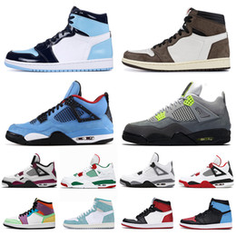 Chaussures vert fluo en Ligne-air jordan retro 1 aj1 jumpman travis scott cactus jack Obsidian Basketball Shoes 1s Black Toe Pine Green UNC Shattered Backboard 4 4s Black Cat Bred Hommes Sport Sneaker