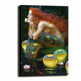 Pinturas da sereia on-line-John William Waterhouse Redhead, Mermaid Home Decor pintado à mão HD Pinturas Imprimir óleo sobre tela Wall Art Pictures 200720