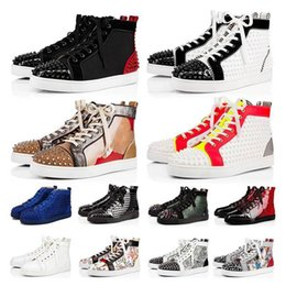 Männer s designer-schuhe rote unterseite online-2020 fashion red bottoms shoes for men women casual shoes luxury designer spikes sneakers tripler s platform red bottom trainers big size 13