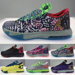 pas cher mens kevin durant chaussures Promotion Bon marché Hommes ce que la KD 6 VI Tops Basket Basketball Chaussures Tante Perle Pink BHM MVP Bleu Or Floral Kevin Durant KD6 Sneakers