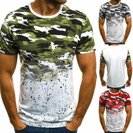 T-shirt de gym coupe slim en Ligne-Mens Gym Casual Summer Slim Fit T-shirts manches courtes T-shirts Muscle Tops Mode O Hauts cou coton camouflage plage imprimé