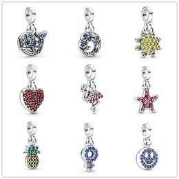 2020 charmes de bijoux flamants Nouveau Summer Collection Me Argent 925 bijoux Mon ananas Flamingo Starfish Blue Whale Ocean Wave Charms Dangle Fit Me style Bracelets bricolage promotion charmes de bijoux flamants