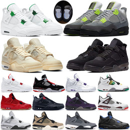 Coole sneakers frauen online-nike air jordon retro Mens gezüchtet Oreo cool grau Silt Red Splatter heißen Schlag 4 4s Basketballschuhe Männer grün wachsen beste Qualität Sport Turnschuhe