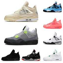 Graue orange basketballschuhe online-air jordan retro jumpman 4 4s Mensbasketballschuhe weiß off retro Segel Travis Scotts Court Lila Encore Cool Gray Weiß Reine Geld Sport Turnschuhe Cement