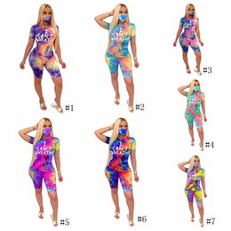 i hosen Rabatt I Cant Breathe Women Tracksuits Tie-dye Letter Printing Round Neck Shorts+Pants With Mask Sport Shorts Two Piece Sets Clothing GGA3550-1