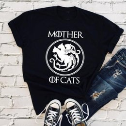 2020 presente do trono do jogo do dragão Game Of Thrones Mother Of Cats T Shirt Women T Shirt Targaryen Mãe Dragão Khaleesi Daenerys Cat Lover Gift desconto presente do trono do jogo do dragão