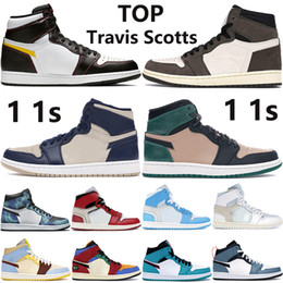 acenda a caixa Desconto With Box 1 OG Jumpman basketball shoes white x 1s Travis scotts bio beige midnight navy light cream Tie Dye men women sneakers
