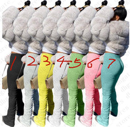 2021 leggings di tendenza Donne Sweatpants Estate Flare solido pantaloni signore Stacked jogging Pieghe del pantalone a vita alta moda tendenza di fondo Skim Leggings Pant LY709
