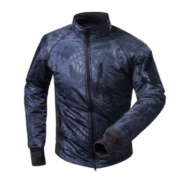 Herren schwarze leichte kleidung online-Schwarz Python Mens im Freien wasserdichten Fleece Ultra-Light Thermal Bekleidung Bergsteigen Wandern Camping Tactical Jacket