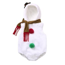 Modell weihnachten kleidung online-Mein erstes Weihnachten Jungen Mädchen Set Neuheit Gelegenheits Warm Christmas Snowman Modelling Fleece Body + Schal Set Säuglings-Baby-Kleidung