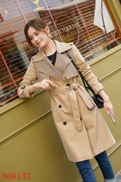 revestimento adesivo Desconto NEW ARRIVAL! WOMEN FASHION ENGLAND X-LONG TRENCH COAT HOT BRAND DESIGNER DOUBLE BREASTED PATCH-WORK TRENCH FOR WOMEN B8133F370 SIZE S-XXL
