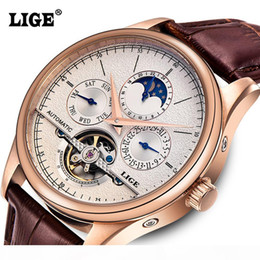 Mens watches Automatic mechanical watch tourbillon clock leather Casual business wristwatch relojes hombre top brand LIGE luxury D18101301