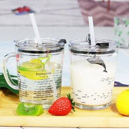 Tea Glasses Breakfast Cups Glass Cup Lid Straw Strawberry