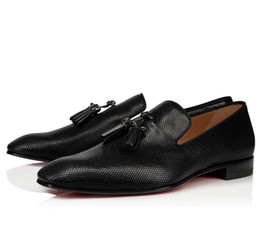 Casuali mocassini nappa uomini online-Abito da Gentleman Luxury Wedding Party Dandelion nappa Mocassini piano casuale Moda inferiore rossa delle scarpe da tennis Rollerboy Mocassino Uomo sera