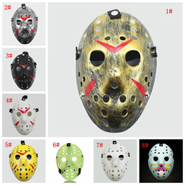 2020 masque de fête jason Mascarade Masques Jason Voorhees Masque Vendredi 13 Film d'horreur de hockey Masque Costume Effrayant Halloween Cosplay Party Plastique Masques FWF836 promotion masque de fête jason