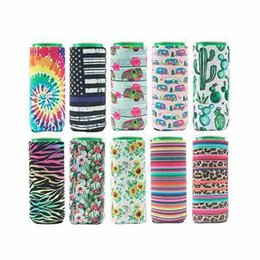 Latas de refrigerante on-line-Slim Can Beer Sleeves Insuladores Neoprene Beverage Cooler Copa Colaborável Cola Soda Garrafa Koozies Cactus Leopard Can Sleeve DWB3346