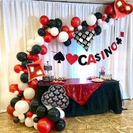 poker adulto Sconti Casino Theme Balloon arch Casino Decoration Party Poker Las Vegas Decoration Anniversare Adulte Birthday Party Decorations Adult T200624