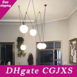 Modern glass chandelier lighting for dining room living room 5 heads 15 20 25cm milk white glass lampshade gold suspension lamp