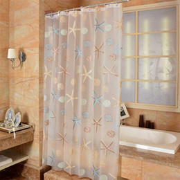 2020 moderni stili di tende Modern Bathroom Shower Curtain impermeabile muffa PEVA Tende da doccia Starfish Mare Style Bath Curtain per Camera sconti moderni stili di tende