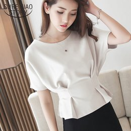 top batwing coreano Sconti Moda Donna Tops Abbigliamento di moda coreano Camicetta in chiffon Solid Batwing Sleeve Plus Size Top Shirts Ladies Top 3624 50 200924