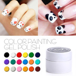 Гель для гелей белого золота онлайн-DIY Paint Color Gel Ink для Nail Art, 36 Цвет UV LED Soak Off UV Gel лак для ногтей Краска Black White Silver Gold
