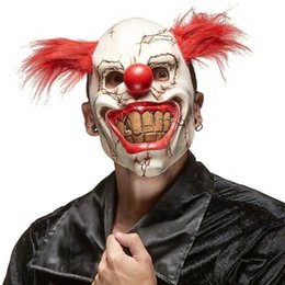 nasenmaske aus latex Rabatt Horror Red Nose Hair Joker-Maske Cosplay Scary Dämon Teufel Clown Big Mouth Half Face Latex-Masken-Halloween-Party Kostüme Requisiten